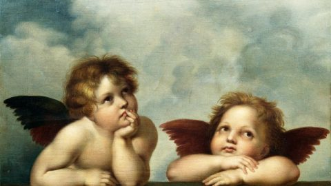 Two Angels Hovered Near a Cloud